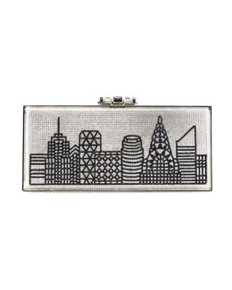 Judith Leiber Couture Gotham Skyline Rectangle Clutch Bag, Silver/Black