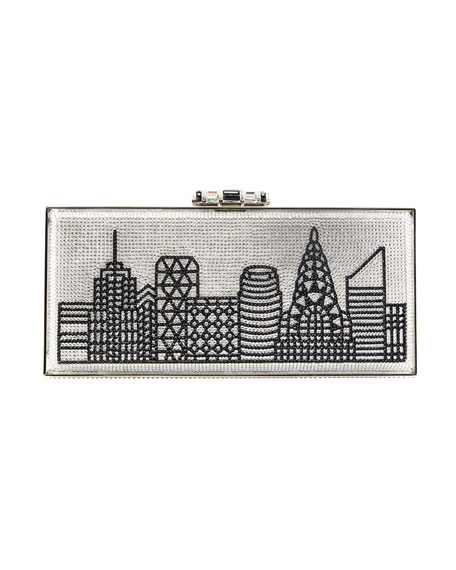 Gotham Skyline Rectangle Clutch Bag, Silver/Black