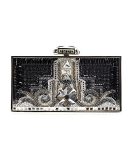 Judith Leiber Couture 30 Rock Perfect Rectangle Clutch Bag, Silver/Black