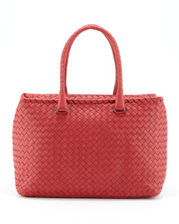Bottega Veneta Brick Woven Satchel Bag, Red