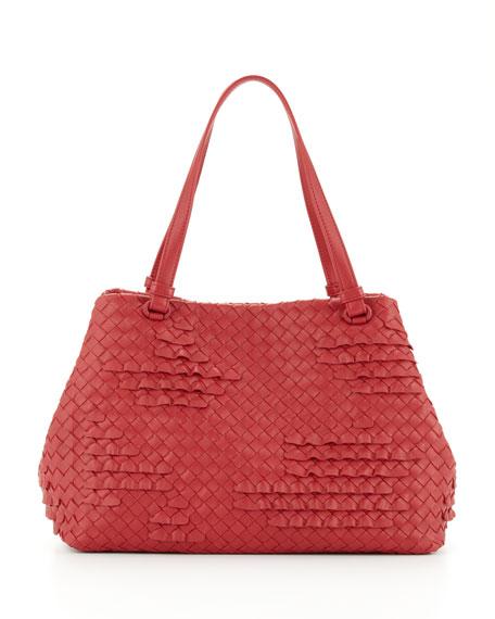 Intrecciato Ruffle Tote Bag, Red
