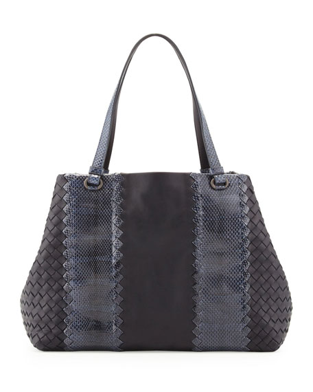 Snake & Napa Leather Tote Bag, Navy