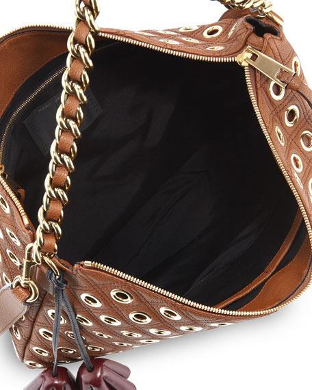Nomad Quilted Grommet Hobo Bag, Brown
