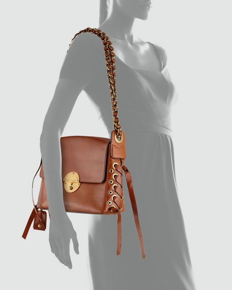 The Laces Nolita Leather Shoulder Bag, Brown
