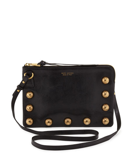 The Cabochons Secret Leather Crossbody Bag, Black