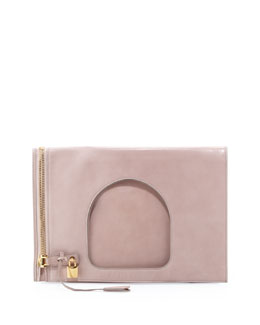 Tom Ford Alix Leather Padlock & Zip Shoulder Bag, Neutral