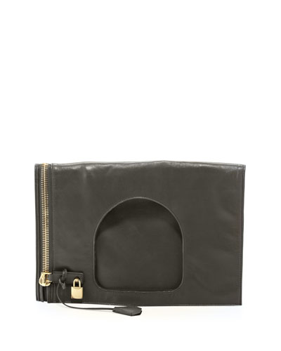 Tom Ford Alix Leather Padlock & Zip Shoulder Bag, Green