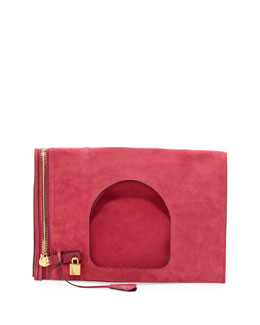 Tom Ford Alix Suede Padlock & Zip Shoulder Bag, Hot Pink