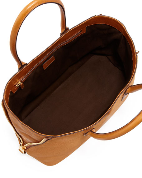 Jennifer Calf Hair Tote Bag, Camel