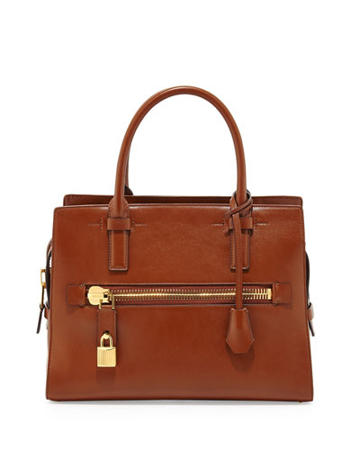Tom Ford Charlotte Leather Small Tote Bag, Tan