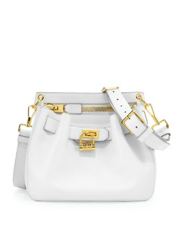 Tom Ford Small Lock-Front Crossbody Bag, White