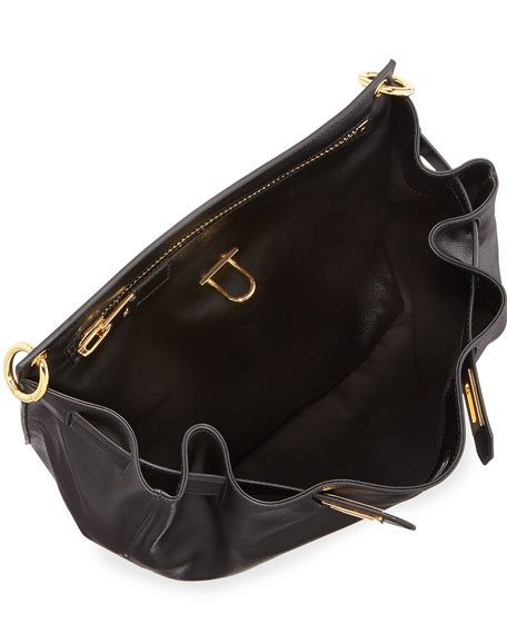 Lock-Front Sling Bag, Black