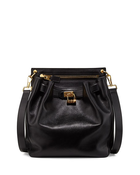 Lock-Front Sling Bag, Black