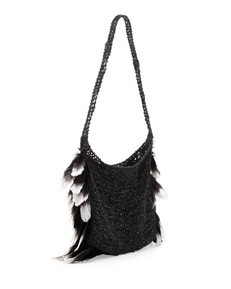 Small Feather Hobo Bag, Black/White