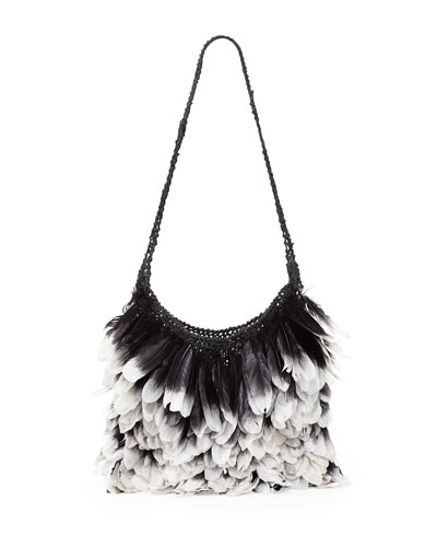 Tom Ford Small Feather Hobo Bag, Black/White