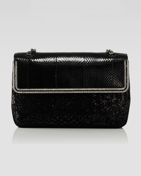 Zahara Snake & Sequin Flap Shoulder Bag, Black