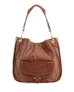 Oryany Camilla Glazed Leather Hobo Bag, Cognac