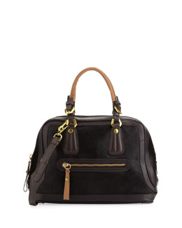 Oryany Kendal Calf Hair Satchel Bag, Black