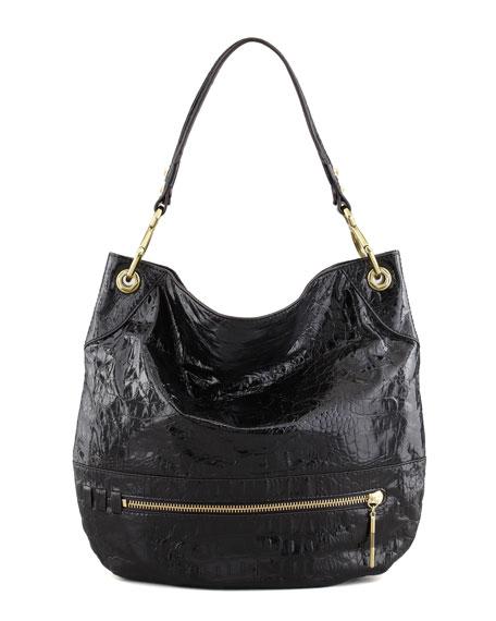 Lucy Crocodile-Embossed Hobo Bag, Black
