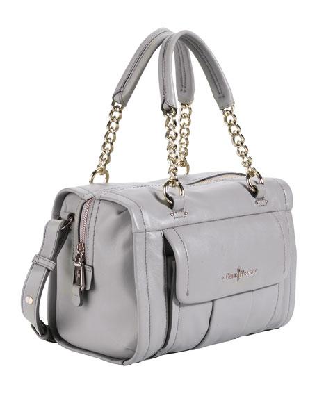 Ainsley Leather Barrel Satchel Bag, Light Gray