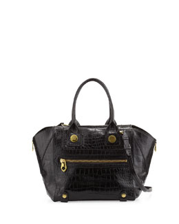 Oryany Megan Medium Crocodile-Embossed Satchel Bag, Black