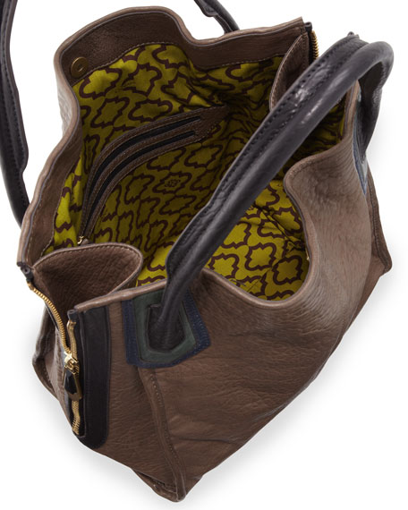Ruby Zip-Side Tote Bag, Taupe/Multi