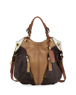 Oryany Victoria Colorblock Shoulder Bag, Honey/Multi