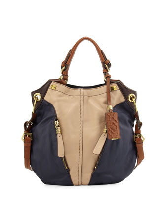 Victoria Colorblock Shoulder Bag, Sand/Multi