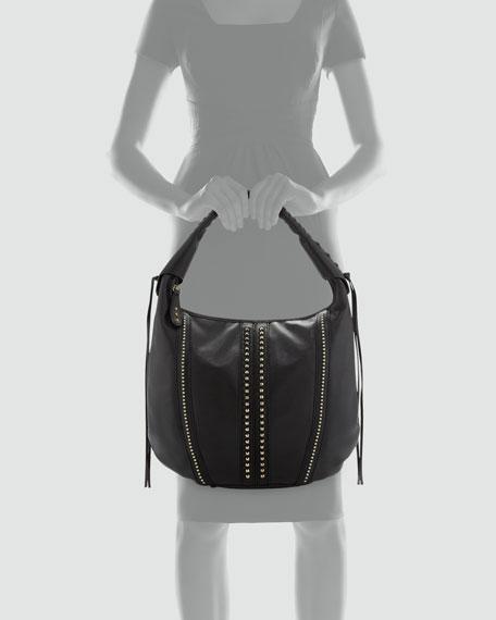 Viviane Studded Hobo Bag, Black