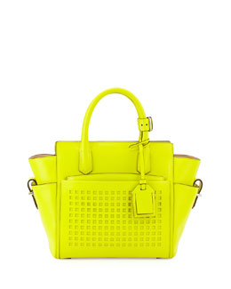 Reed Krakoff Atlantique Mini Perforated Tote Bag, Yellow