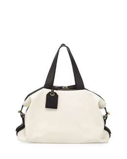 Reed Krakoff RDK Bicolor Satchel Bag, White/Black