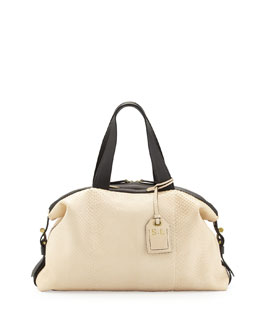 Reed Krakoff RDK Anaconda Satchel Bag, White/Black