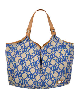 Rafe Playa Hexagon Jute Tote Bag, Blue