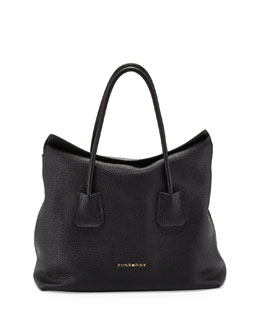 Burberry Grained Top-Handle Tote Bag, Black