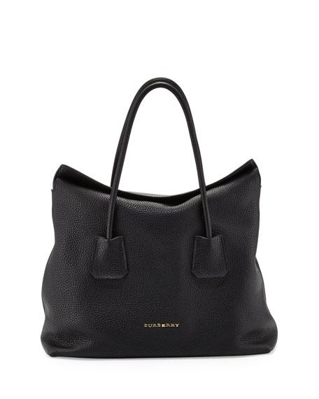 Grained Top-Handle Tote Bag, Black