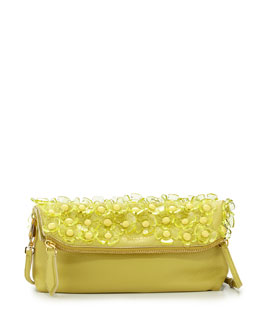 Burberry Floral Leather Shoulder Bag, Pale Lemon