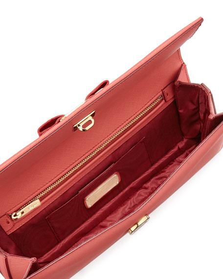 Camy Saffiano Vara Clutch Bag, Rose