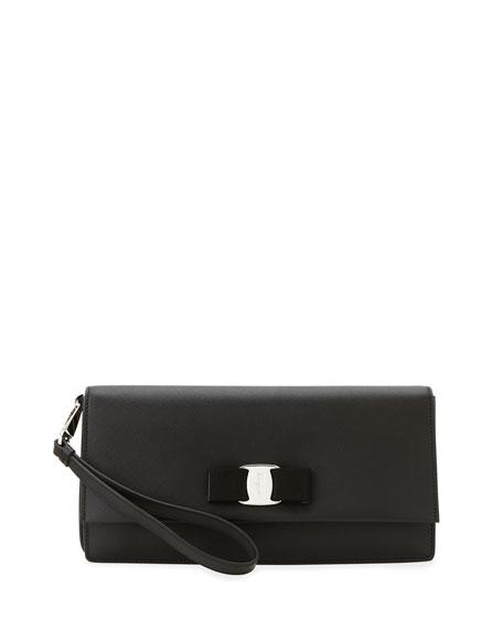 Camy Saffiano Vara Clutch Bag, Black