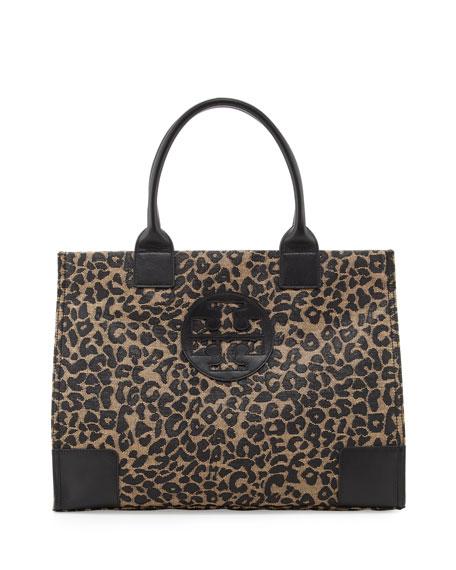 Ella Leopard-Print Raffia Tote Bag