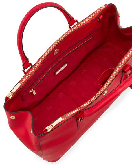 54fa29e812d Tory Burch Robinson Saffiano Double-Zip Tote Bag, Hot Pink