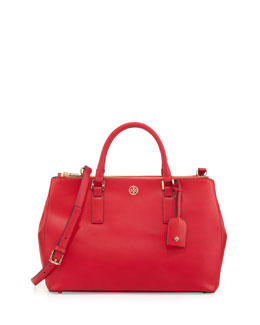 Tory Burch Robinson Saffiano Double-Zip Tote Bag, Hot Pink