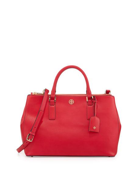 Robinson Saffiano Double-Zip Tote Bag, Hot Pink