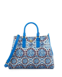 Tory Burch Robinson Printed Triangle Tote Bag, Blue