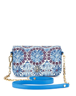 Tory Burch Robinson Printed Chain Mini Bag, Blue