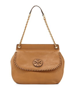 Tory Burch Marion Leather Saddle Bag, Tan