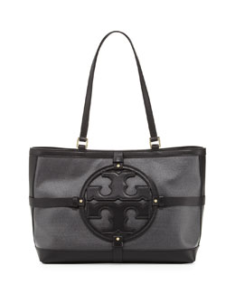 Tory Burch Holly East-West Canvas/Leather Tote Bag, Black