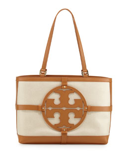 Tory Burch Holly East-West Canvas Tote Bag, Natural/Bark