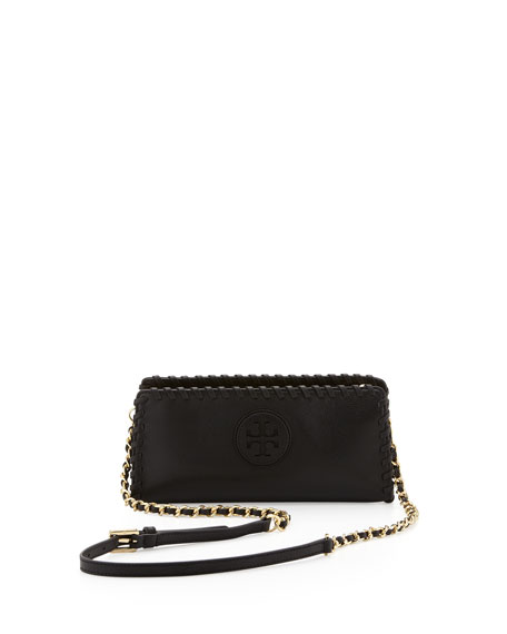 Marion Whipstitch Crossbody Clutch Bag, Black