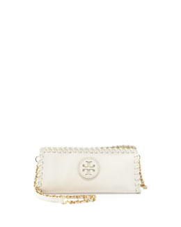 Tory Burch Marion Whipstitch Crossbody Clutch Bag, Ivory
