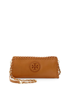Tory Burch Marion Whipstitch Crossbody Clutch Bag, Tan